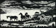 Ranch Drawings Posters - Horses in Winter Poster by Dawn Senior-Trask