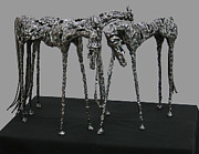 Horses Sculpture Prints - Horses Print by Leon  Leigh