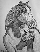 Wildlife Art Drawings Prints - Horses Print by Nick Gustafson