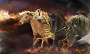 Grey Clouds Painting Posters - Horses Of The Apocalypse Poster by Kate Black