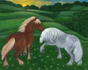 Rural Living Painting Posters - Horses of the Rising Sun Poster by Anna Folkartanna Maciejewska-Dyba