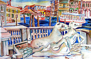 Mindy Newman Drawings - Horses on the Grand Canal of Venice by Mindy Newman