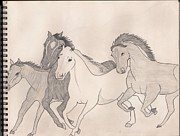 Wild Horses Pastels - Horses on the loose by Mariam Ahmad