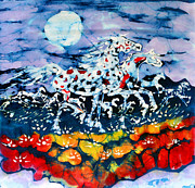 Dye Tapestries - Textiles Prints - Horses Prance On Flower Field in Summer Moon Print by Carol Law Conklin