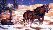 Folk  Paintings - Horses Pulling Log by Curtiss Shaffer