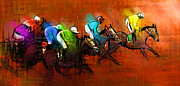 Sports Art Digital Art Posters - Horses racing 01 Poster by Miki De Goodaboom