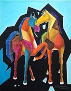 Oil  Etc. Paintings - Horses by Ram Prakash