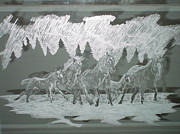 Animals Glass Art Originals - Horses Running in Snow by Robin Hewitt