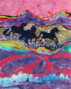 Colorful Landscape Tapestries - Textiles Posters - Horses Running Thru a Stream Poster by Carol  Law Conklin