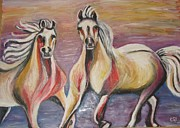 Oil On Cardboard Prints - Horses Print by Sanja  Prsic