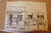 Rail Drawings - Horses tied up a General Merchandise Store by Smart Healthy Life