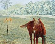 Smoky Mountains Paintings - Horses by Todd A Blanchard