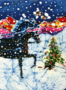 Winter Scene Tapestries - Textiles Prints - Horses Trot to the Christmas Tree Print by Carol Law Conklin