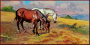 Tuscan Sunset Paintings - Horses by Vaccaro