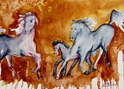 Quarter Horses Originals - Horses with Foal by Lil Taylor