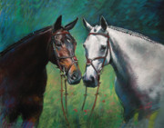 Animals Pastels - Horses by Ylli Haruni