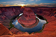 High Angle View Framed Prints - Horseshoe Bend Arizona Framed Print by Dave Dill