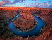 Harsh Photo Posters - Horseshoe Bend Sunrise Poster by Inge Johnsson