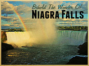Horseshoe Falls Framed Prints - Horseshoe Falls Niagra Falls Framed Print by Vintage Poster Designs