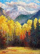 Aspen Tree Paintings - Horseshoe Park Serenity by David G Paul