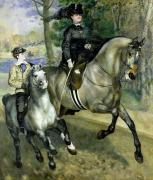 Victorian Costume Prints - Horsewoman in the Bois de Boulogne Print by Pierre Auguste Renoir