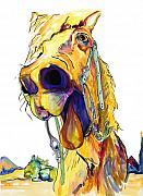 Animal Mixed Media Metal Prints - Horsing Around Metal Print by Pat Saunders-White