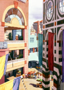 San Diego California Posters - Horton Plaza San Diego Poster by Mary Helmreich