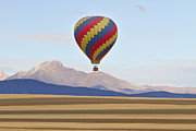 Photography Prints Prints - Hot Air Balloon and Longs Peak Print by James Bo Insogna