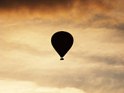 Balloon Posters - Hot air balloon at dusk Poster by Pixel Chimp
