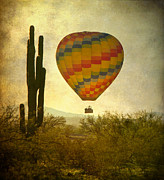 Tucson Framed Prints - Hot Air Balloon Flight Over the Southwest Desert Framed Print by James Bo Insogna