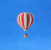 Hot Air Balloon Painting Posters - Hot Air Balloon House Poster by Brian Ogi