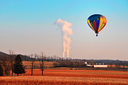 Hot Air Balloon Digital Art Prints - Hot Air Balloon Near Limerick Pa Print by Bill Cannon