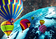 Hot Air Balloon Space Race Print by Michael Ambrose