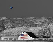 Selective Coloring Art Prints - Hot Air Balloon With USA Flag Barn God Bless the USA BWSC Print by James Bo Insogna