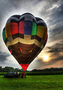 Buoyant Posters - Hot Air Ballooning at Dusk - Hot Air Balloon  Poster by Lee Dos Santos