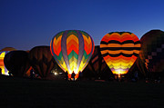 Hot Air Balloon Prints - Hot Air Balloons at Dusk Print by Benanne Stiens