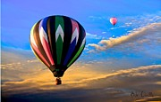 Ballooning Prints - Hot Air Balloons at Sunset Print by Bob Orsillo