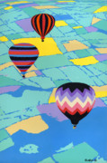 Ballooning Prints - Hot Air Balloons ballooning orignal pop art nouveau landscape  80s 1980s decorative stylized Print by Walt Curlee