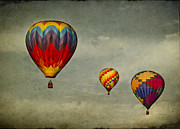 Balloon Digital Art Prints - Hot air balloons Print by Elena Nosyreva