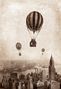 Urban Buildings Posters - Hot Air Balloons over 1949 New York City Poster by Jill Battaglia