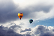 Hot Air Balloons Digital Art - Hot Air Balloons Stormy Clouds by Tracie Kaska
