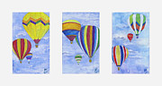 Hot Air Balloon Painting Posters - Hot Air Balloons Trio Poster by Arlissa Vaughn