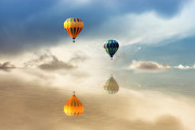 Reflections Digital Art Posters - Hot Air Balloons Water Reflections Poster by Tracie Kaska
