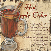 Text Words Posters - Hot Apple Cider Poster by Debbie DeWitt