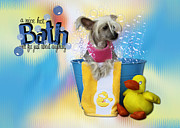 Hairless Digital Art Posters - Hot Bath - Chinese Crested Poster by Renae Frankz