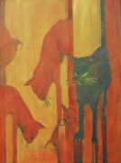 Cool Cats Paintings - Hot Cats by Georgia Annwell