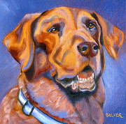 Retriever Drawings Posters - Hot Chocolate Lab Poster by Susan A Becker