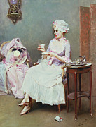 Hot Drink Framed Prints - Hot Chocolate Framed Print by Raimundo de Madrazo y Garetta