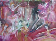 Ballet Dancers Painting Posters - Hot  Christmas fairies Poster by Judith Desrosiers