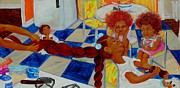 African-american Paintings - Hot Combs And Hair Grease by Charon Rothmiller